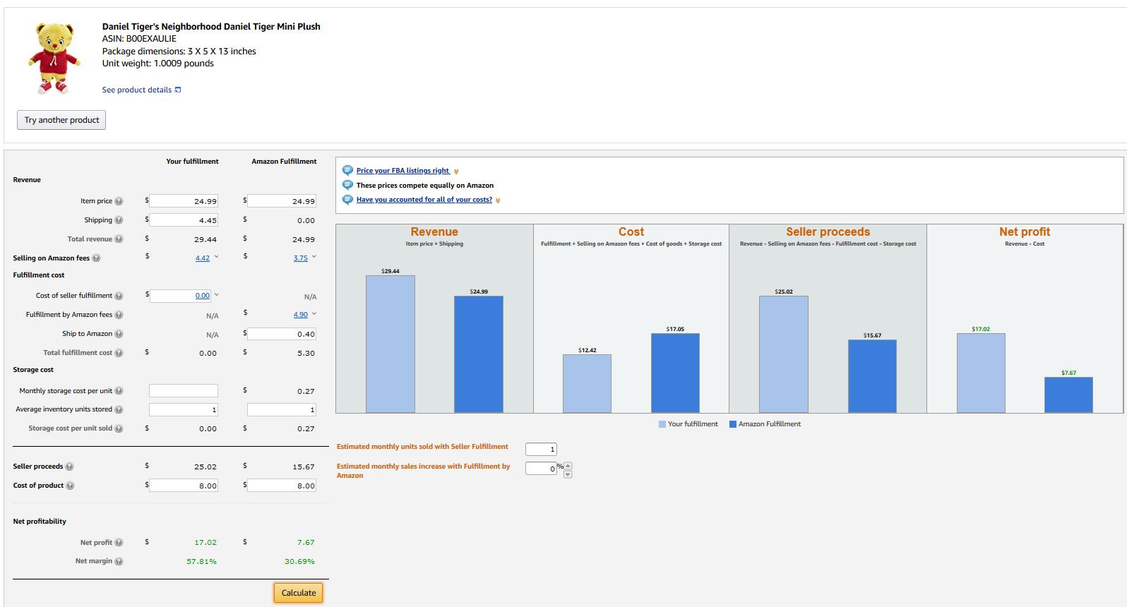 amazon revenue calculator